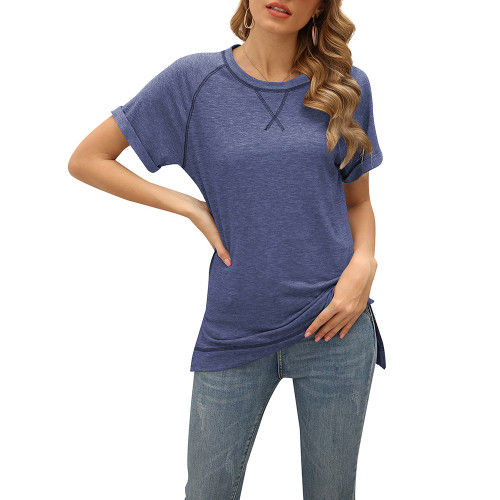 Navy Blue Solid Cotton Blend Short Sleeve T Shirt TQK210625-34