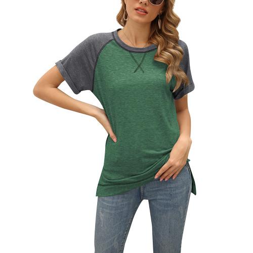 Green Patchwork Cotton Blend Short Sleeve Tees TQK210626-9