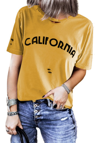 Yellow Letter Print Distressed Tee LC2522481-7