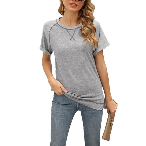 Light Gray Solid Cotton Blend Short Sleeve T Shirt TQK210625-25