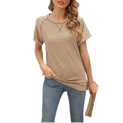 Khaki Solid Cotton Blend Short Sleeve T Shirt TQK210625-21
