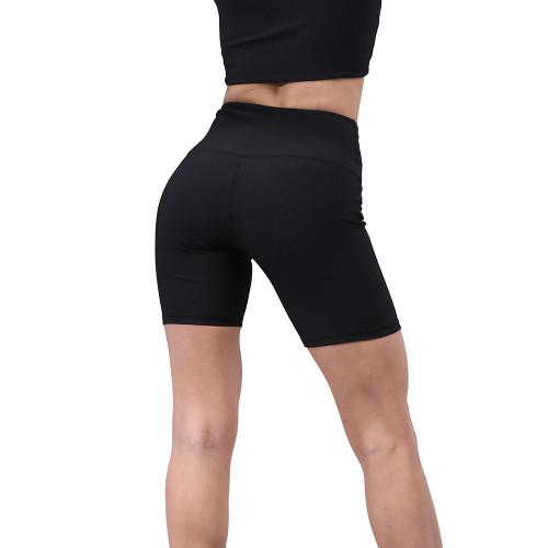 Black 1/2 Length Breathable High Waist Yoga Shorts TQE10103-2