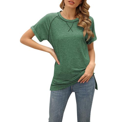 Green Solid Cotton Blend Short Sleeve T Shirt TQK210625-9