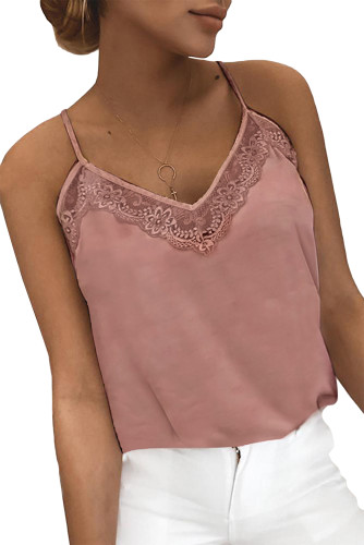 Pink Lace Detail Tank Top LC256554-10