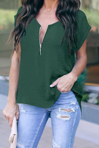 Green Zip To It Blouse LC252220-9