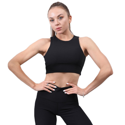 Black Simple Design Padded Comfort Yoga Bra TQE10106-2