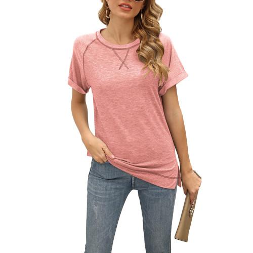 Pink Solid Cotton Blend Short Sleeve T Shirt TQK210625-10
