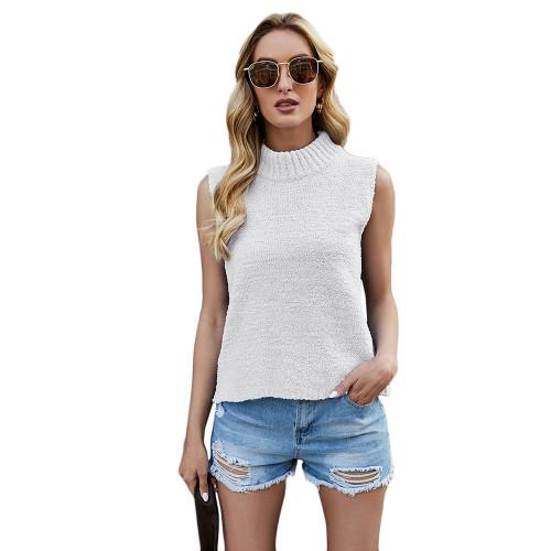 White Sleeveless Knit Tank Top TQK250108-1