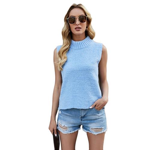 Light Blue Sleeveless Knit Tank Top TQK250108-30