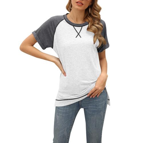 White Patchwork Cotton Blend Short Sleeve Tees TQK210626-1