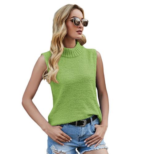 Grass Green Sleeveless Knit Tank Top TQK250108-61
