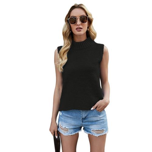 Black Sleeveless Knit Tank Top TQK250108-2
