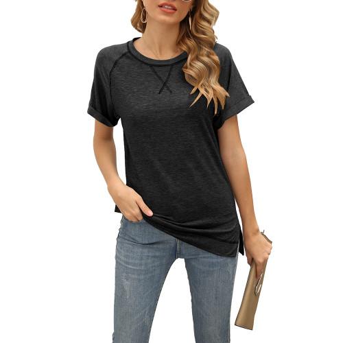 Black Solid Cotton Blend Short Sleeve T Shirt TQK210625-2