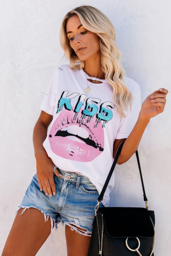 White Letter Lip Print Distressed Tee LC2522481-1