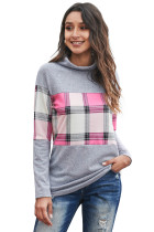 Plaid Splicing Gray Cowl Neck Long Sleeve Top LC2512098-11