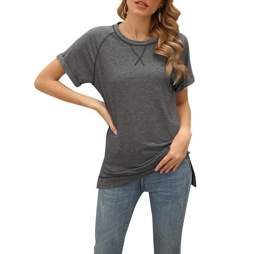 Dark Gray Solid Cotton Blend Short Sleeve T Shirt TQK210625-26