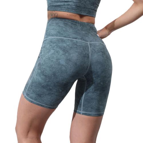 Green Digital Print Breathable 1/2 Length Yoga Shorts TQE10103-9