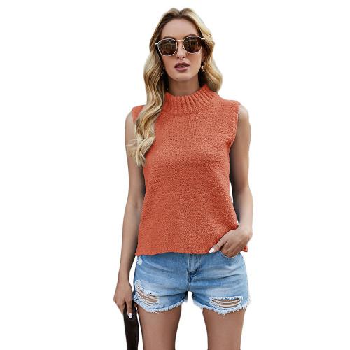 Orange Sleeveless Knit Tank Top TQK250108-14