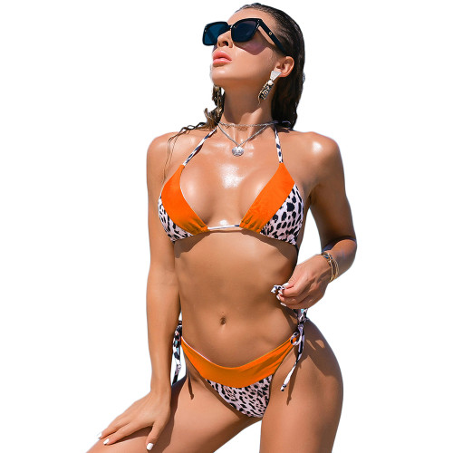 Orange Splicing Leopard Print Halter Bikini Set TQK610181-14