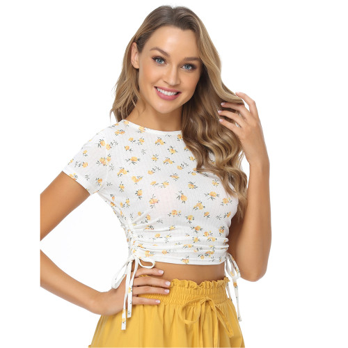 Light Yellow Sides Drawstring Short Sleeve Crop Top TQK210630-42