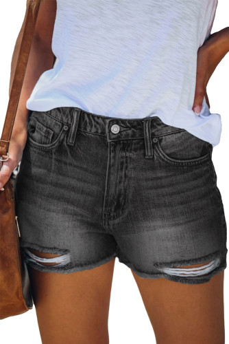 Black High Waist Frayed Denim Shorts LC78833-2
