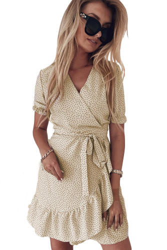 Apricot Bohemian Dotted Print Wrap V Neck Ruffled Mini Dress LC223660-18