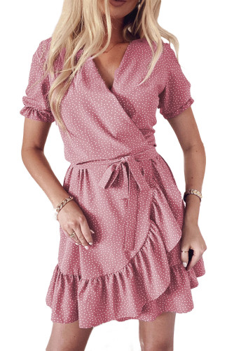 Pink Bohemian Dotted Print Wrap V Neck Ruffled Mini Dress LC223660-10