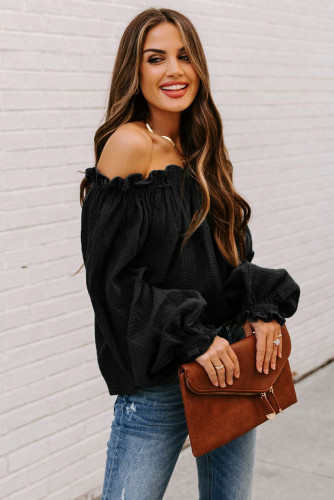 Black Off-the-shoulder Ruffle Top LC2514105-2