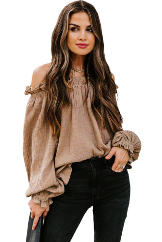 Brown Off-the-shoulder Ruffle Top LC2514105-17