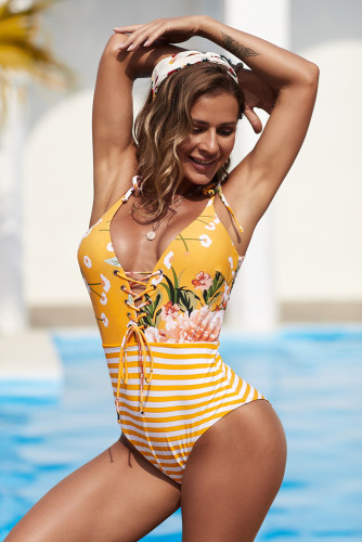 Floral and Striped Lace-up One-piece Swimwear LC44262-7