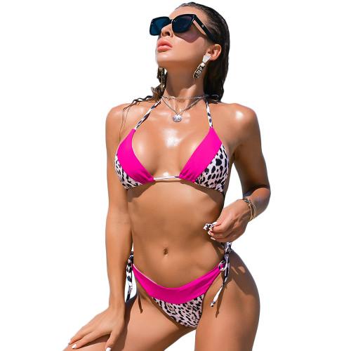 Rosy Splicing Leopard Print Halter Bikini Set TQK610181-6