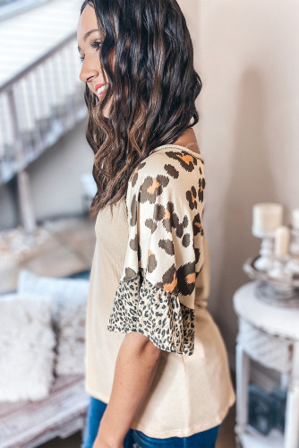 Mixed Leopard Ruffle Sleeve Waffle Knit Top LC2514889-16