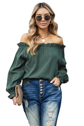 Green Off-the-shoulder Ruffle Top LC2514105-9