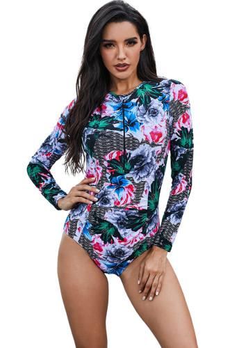 Green Floral Printed Zip Front Rashguard Swimwear LC481008-9