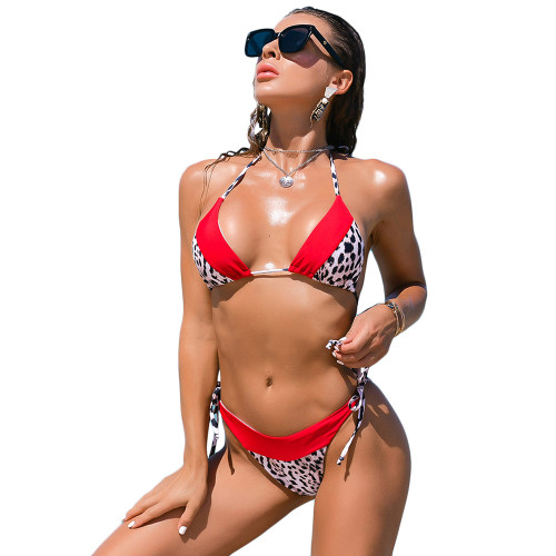 Red Splicing Leopard Print Halter Bikini Set TQK610181-3