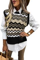 Black Wavy Stripes Knit Vest Pullover Sweater LC27032-2