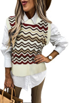 Red Wavy Stripes Knit Vest Pullover Sweater LC27032-3