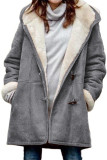 Gray Long Sleeve Hooded Buttons Pockets Duffle Coat LC851918-11