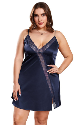 Navy Plus Size Lace Trim Valentine Babydoll Dress LC31309-5
