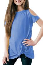 Sky Blue Cold Shoulder Twist Girls Short Sleeves Top TZ25170-4