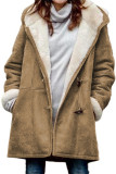 Brown Long Sleeve Hooded Buttons Pockets Duffle Coat LC851918-17