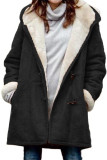 Black Long Sleeve Hooded Buttons Pockets Duffle Coat LC851918-2