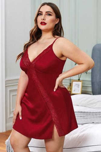 Red Plus Size Lace Trim Valentine Babydoll Dress LC31309-3