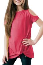 Rose Cold Shoulder Twist Girls Short Sleeves Top TZ25170-6