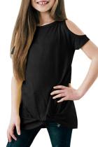 Black Cold Shoulder Twist Girls Short Sleeves Top TZ25170-2