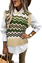 Green Wavy Stripes Knit Vest Pullover Sweater LC27032-9