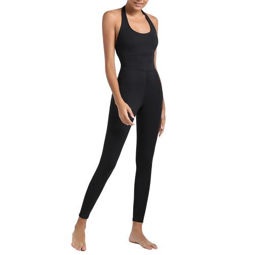 Black Open Back Halter Yoga Jumpsuit TQE44157-2