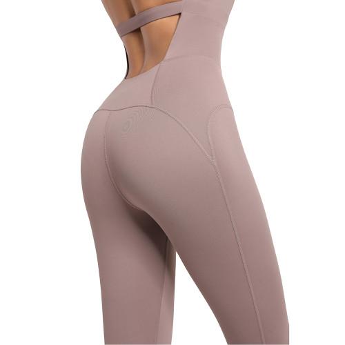 Mocha Open Back Halter Yoga Jumpsuit TQE44157-222