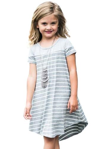 Gray Colorblock Patchwork Striped Girls' Dress TZ61105-11