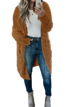Brown Fuzzy Knit Cardigan with Pockets LC271231-17